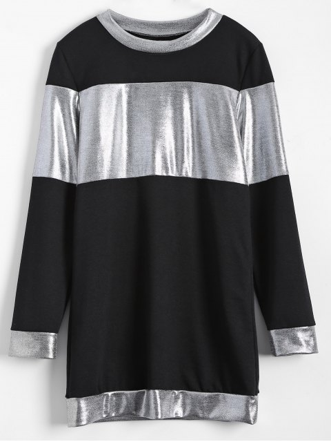 outfits Metallic Color Long Sleeve Mini Dress - BLACK XL Mobile