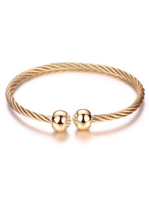 shops Rhinestone Twisted Cuff Bracelet - CHAMPAGNE GOLD  Mobile