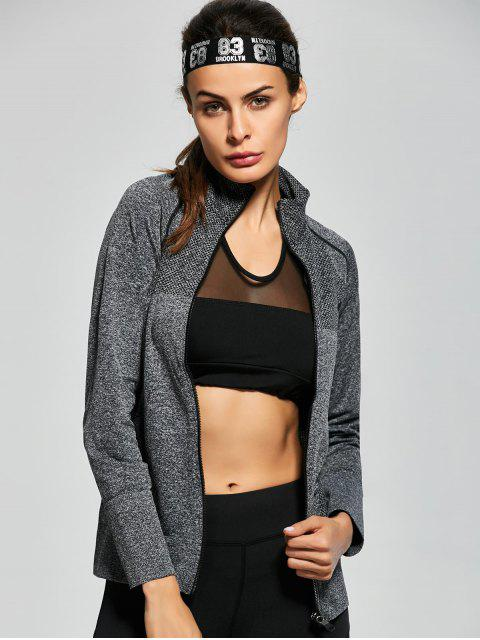 ladies Quick Dry Zipper Work Out Running Jacket - GRAY M Mobile