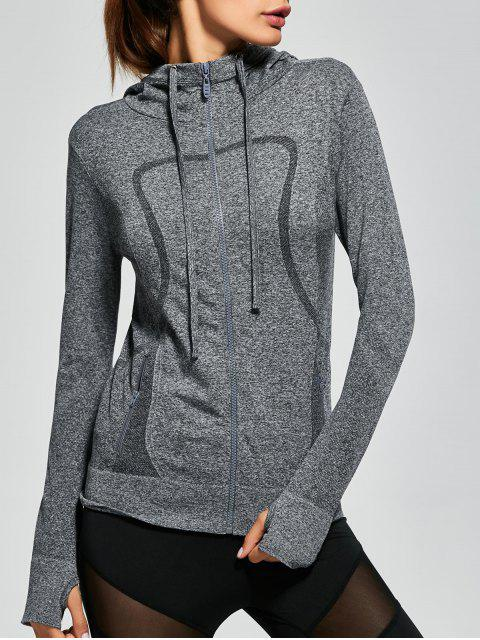 shop Hooded Zip Running Jacket - GRAY M Mobile