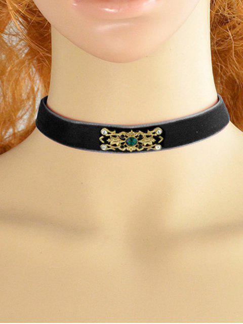 trendy Faux Crystal Badge Velvet Necklace -   Mobile
