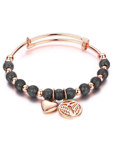 women's Heart Dull Polished Beaded Bracelet -   Mobile