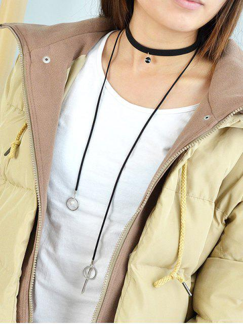 fancy Round Tassel Layered  Choker Necklace -   Mobile