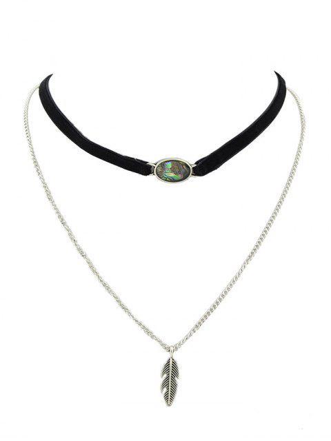 unique Leaf Layered Oval Faux Gem Necklace -   Mobile