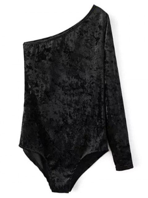 Vestido Enterizo Body Terciopelo Una Manga Cuello Inclinado - Negro S Mobile