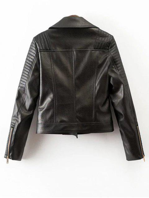 women's Zippered PU Leather Motorcycle Jacket - BLACK S Mobile