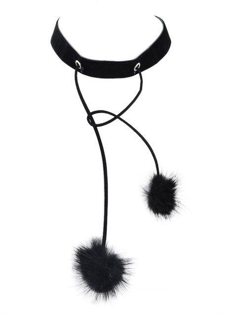 sale Fuzzy Ball Velvet Choker Necklace -   Mobile