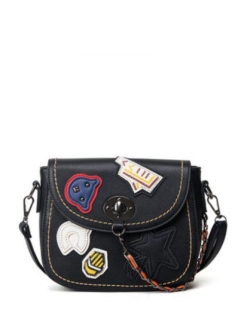 shops Patches Chains Crossbody Bag -   Mobile