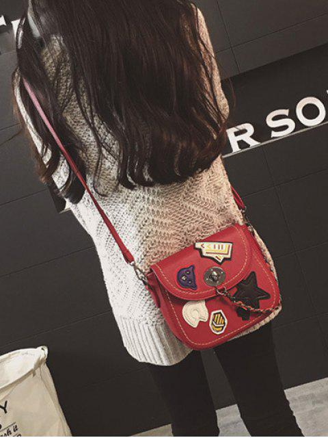 latest Patches Chains Crossbody Bag -   Mobile