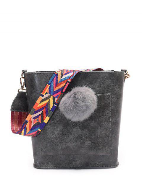 new Colorful Strap Pompon Shoulder Bag - GRAY  Mobile