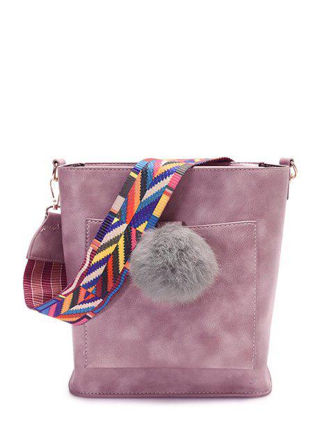 hot Colorful Strap Pompon Shoulder Bag - PINK  Mobile