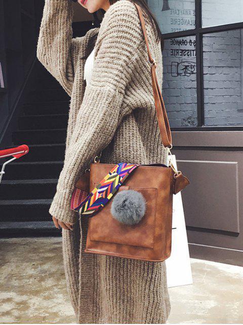 outfit Colorful Strap Pompon Shoulder Bag - BROWN  Mobile