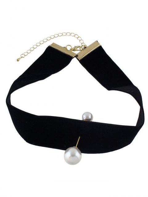 womens Fake Pearl Leather Wide Choker -   Mobile