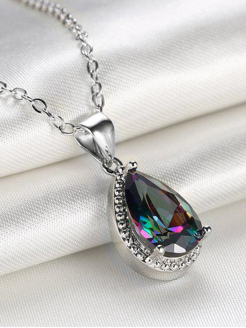 chic Artificial Crystal Gemstone Teardrop Pendant Necklace -   Mobile