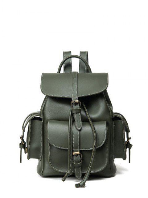 hot Multi Pockets Buckle Straps Backpack - GREEN  Mobile