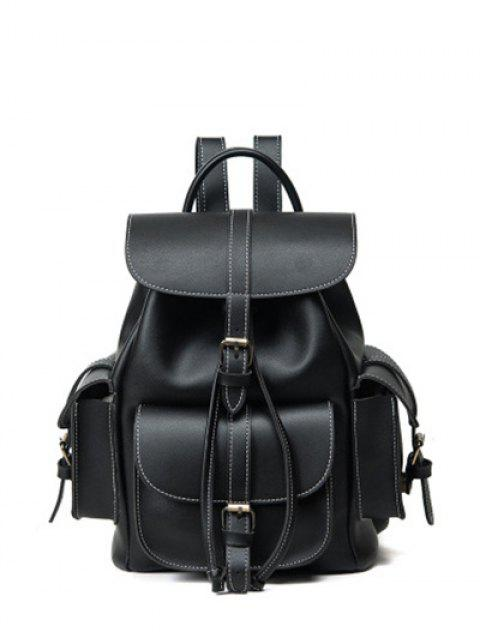 shop Multi Pockets Buckle Straps Backpack - BLACK  Mobile