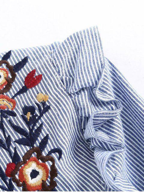 fancy Embroidered Bib Frilled Shirt - BLUE AND WHITE L Mobile