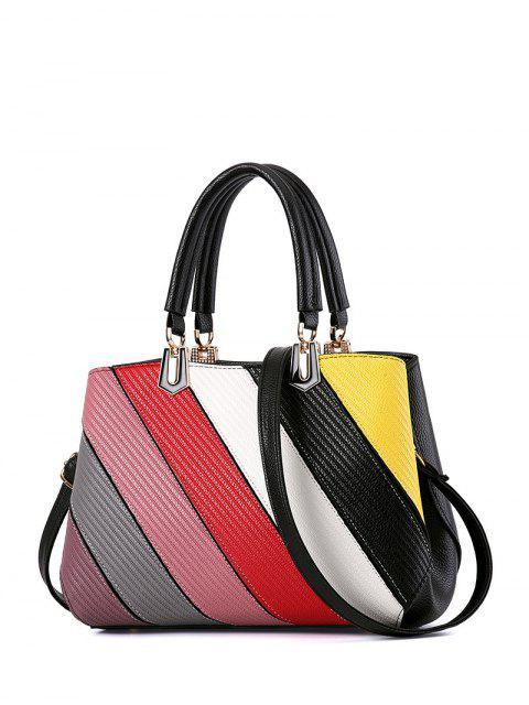 ladies Colored Stripes PU Leather Handbag -   Mobile