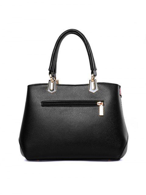 lady Colored Stripes PU Leather Handbag -   Mobile