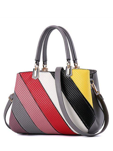 best Colored Stripes PU Leather Handbag -   Mobile