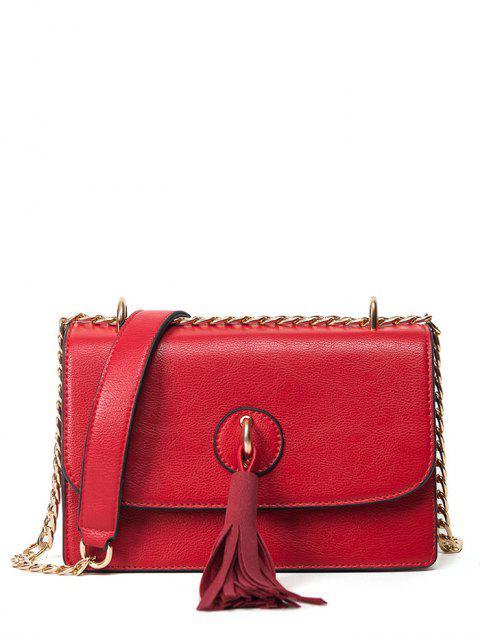 fashion Tassel Chains Cross Body Bag - RED  Mobile