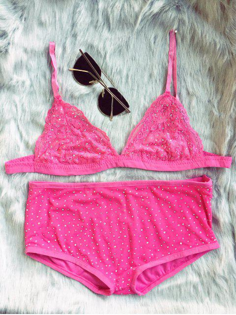online Hot Fix Rhinestone High Waisted Bra Set - RED S Mobile