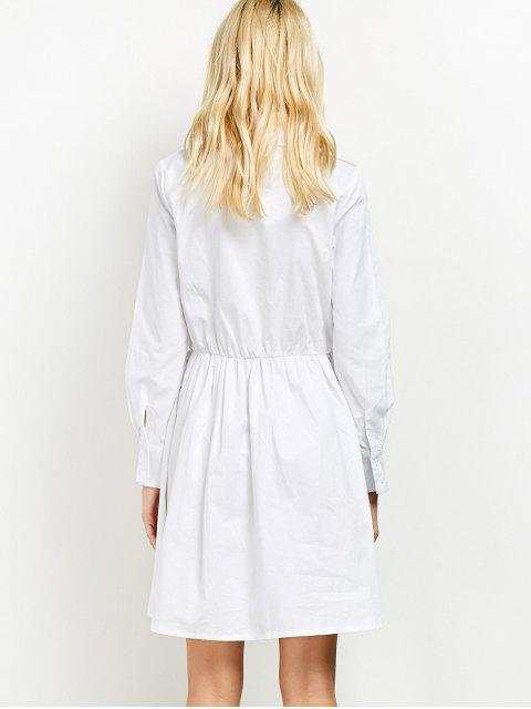women Long Sleeve Embroidered Shirt Dress wit Pocket - WHITE S Mobile