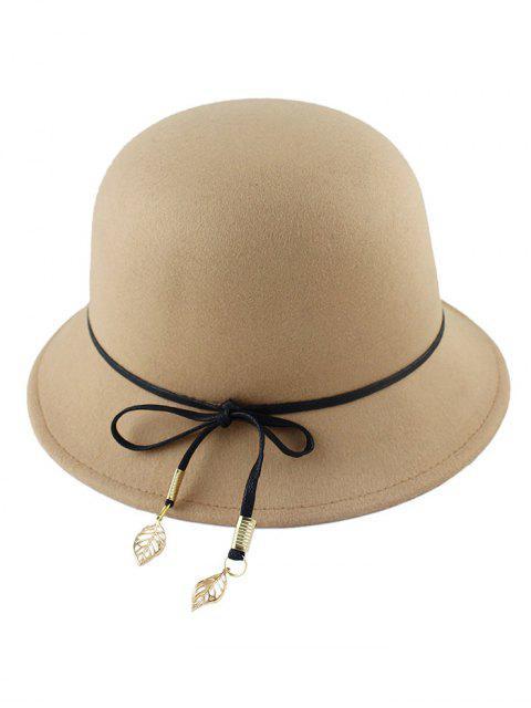 fancy Leaf Bowknot Felt Bowler Hat - LIGHT CAMEL  Mobile