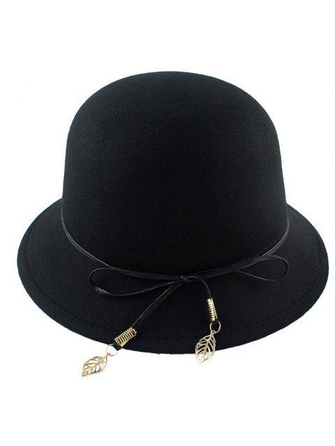 unique Leaf Bowknot Felt Bowler Hat - BLACK  Mobile