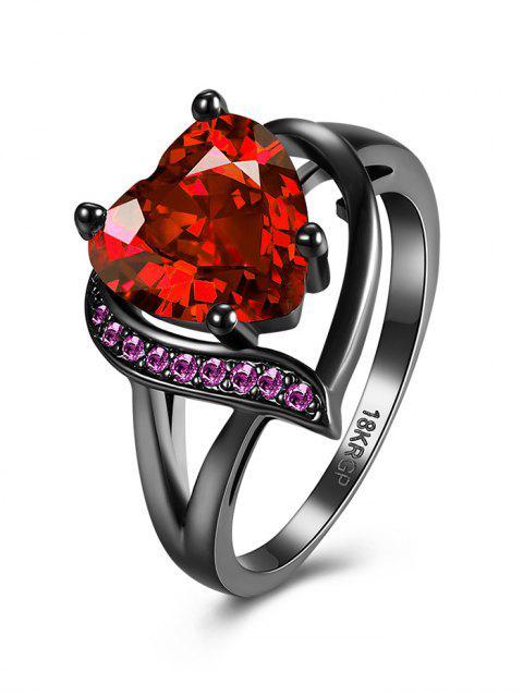 new Rhinestoned Heart Shape Ring -   Mobile