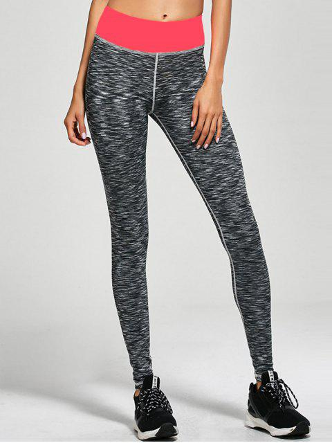 chic High Waist Space Dyed Leggings - DEEP GRAY XL Mobile
