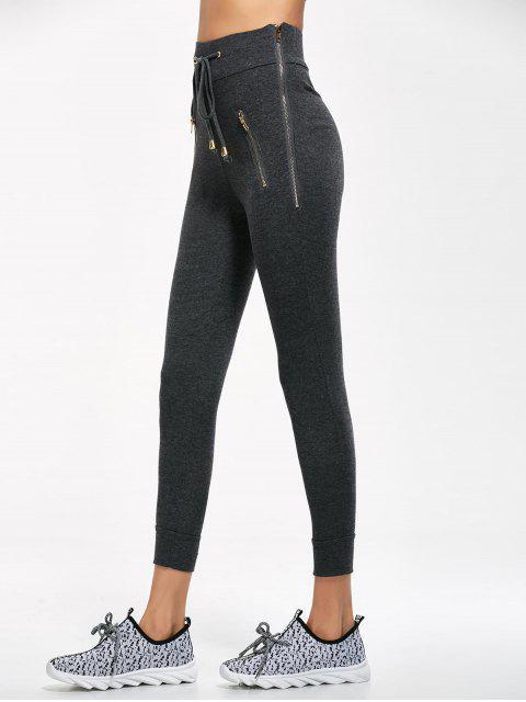 lady Zip Embellished Drawstring Jogger Pants - DEEP GRAY M Mobile