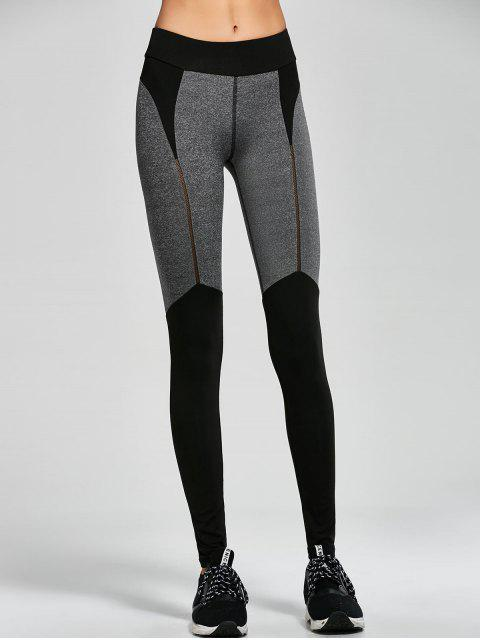 shop Color Block Sports Running Leggings - BLACK S Mobile