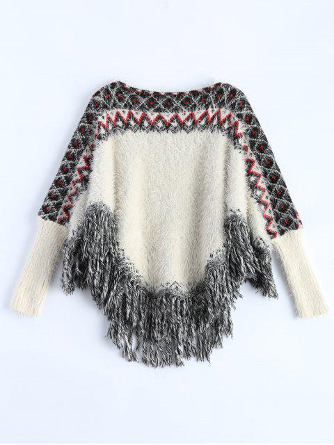 fancy Fluffy Batwing Sweater - WHITE ONE SIZE Mobile