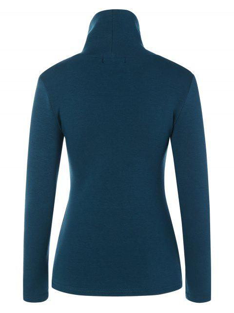 affordable Turtle Neck Long Sleeve Fleeced T-Shirt - PEACOCK BLUE L Mobile