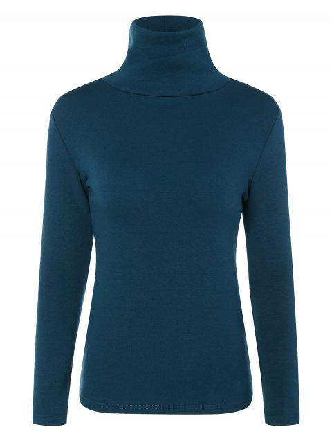 affordable Turtle Neck Long Sleeve Fleeced T-Shirt - PEACOCK BLUE 3XL Mobile