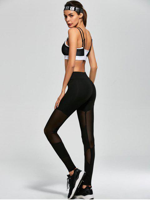 lady Mesh Insert Sports Bra and Sports Leggings - BLACK M Mobile