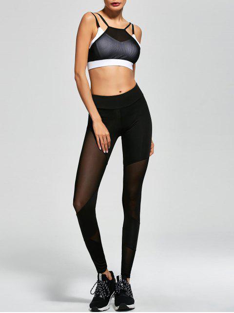 ladies Mesh Insert Sports Bra and Sports Leggings - BLACK L Mobile