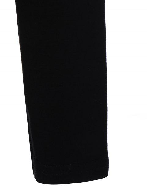 ladies Long Sleeve Cartoon Letter T-Shirt - BLACK L Mobile