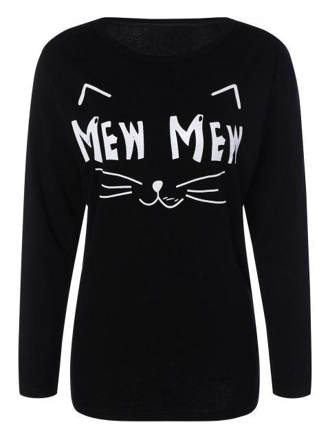 women Long Sleeve Cartoon Letter T-Shirt - BLACK 2XL Mobile
