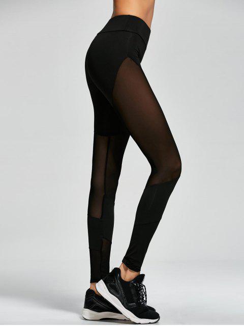 online Mesh Insert Gym Sports Leggings - BLACK L Mobile