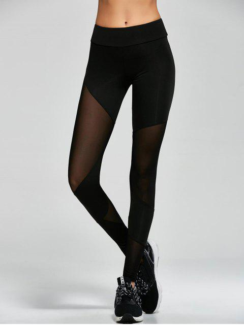 hot Mesh Insert Gym Sports Leggings - BLACK S Mobile