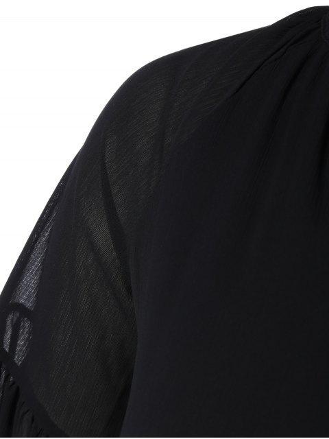 latest V Neck Shirred Cold Shoulder Dress - BLACK 3XL Mobile