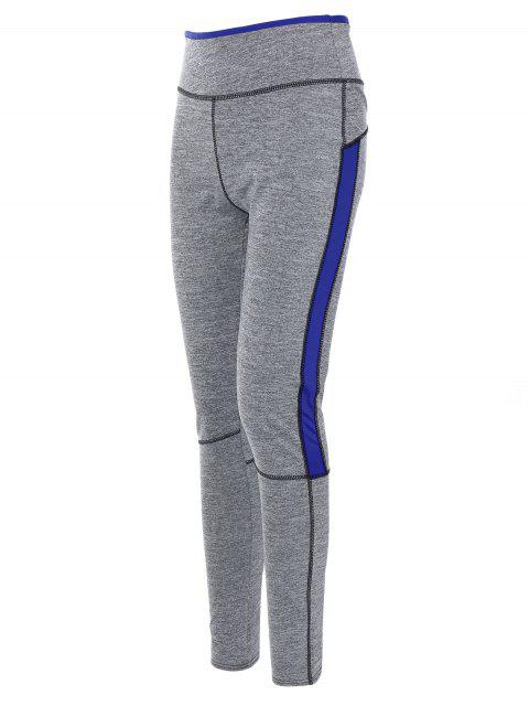 trendy High Rise Color Block Sporty Running Leggings - ROYAL L Mobile