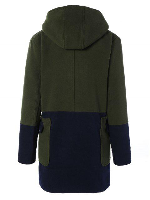 best Hooded Faux Shearling Color Block Coat - OLIVE GREEN M Mobile