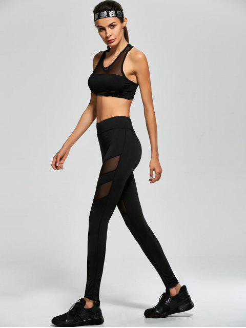 fashion Mesh Panel Tank Top and Stretch Pants Yoga Suit - BLACK S Mobile