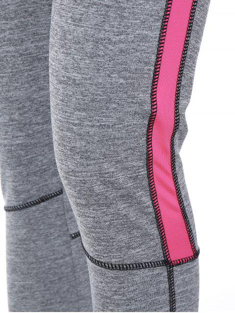 best High Rise Color Block Sporty Running Leggings - PINK XL Mobile