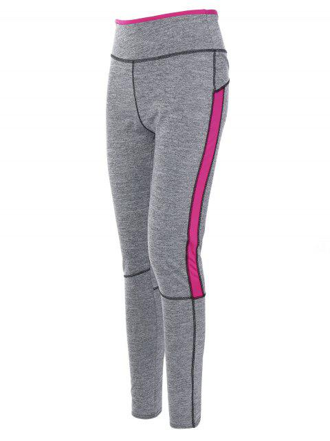 outfit High Rise Color Block Sporty Running Leggings - ROSE RED XL Mobile