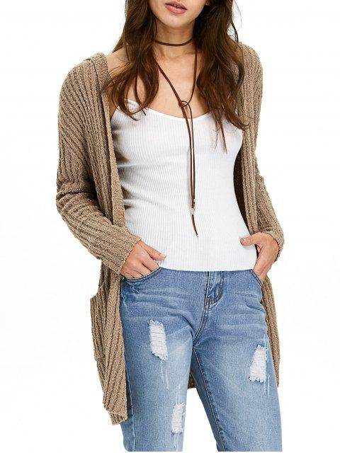 outfit Ribbed Double Pockets Hooded Cardigan - BROWN 2XL Mobile