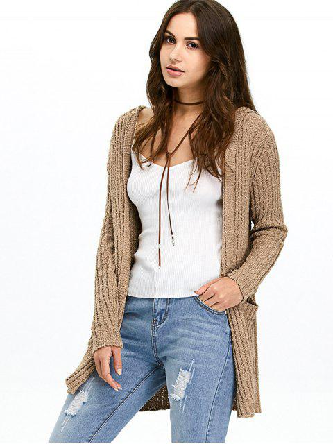 shops Ribbed Double Pockets Hooded Cardigan - BROWN M Mobile